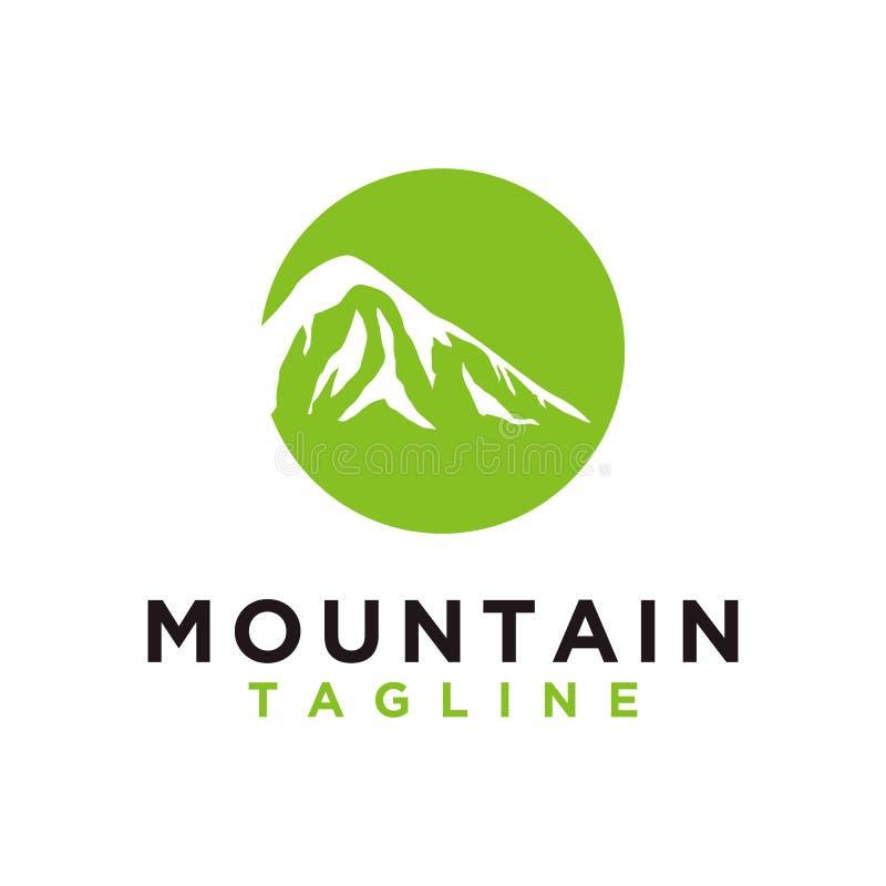 Berg oder Hügel oder Höchstlogoentwurfsvektor Lager- oder Abenteuerikone, gestalten Symbol landschaftlich und können für Reise un stock abbildung