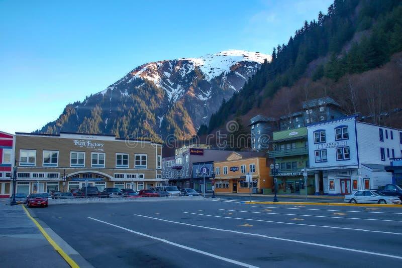 Berg over Juneau stock afbeelding