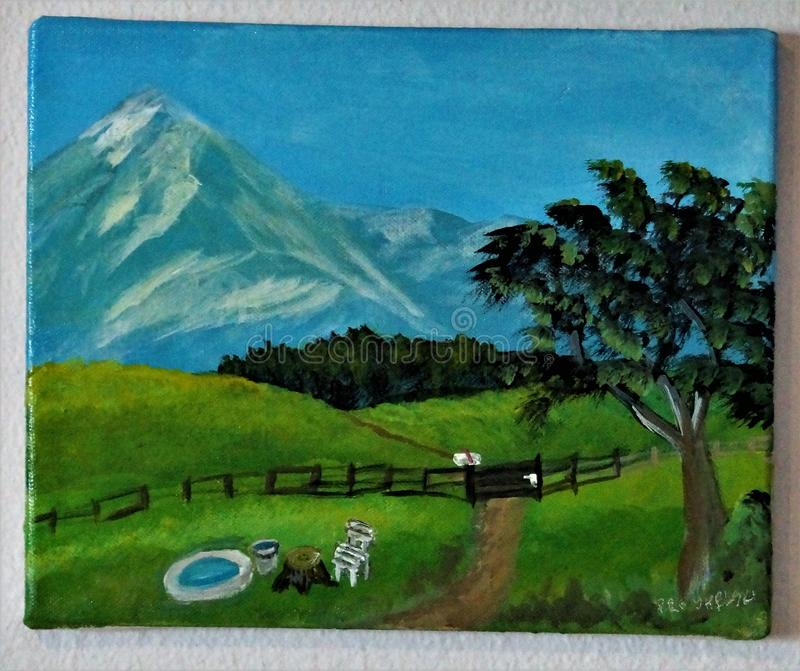 Berg picture made by me. Berg Green Farm Sommer Green ,Blue stock illustration