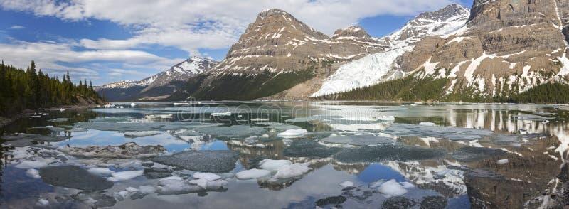 Berg sikt för landskap för sjö panorama- i kanadensaren Rocky Mountains arkivbilder