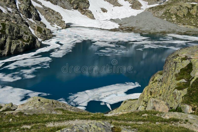 Berg sjö i de franska fjällängarna, fotografering för bildbyråer