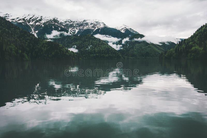 Berg sjö och barrträds- Forest Landscape arkivbild