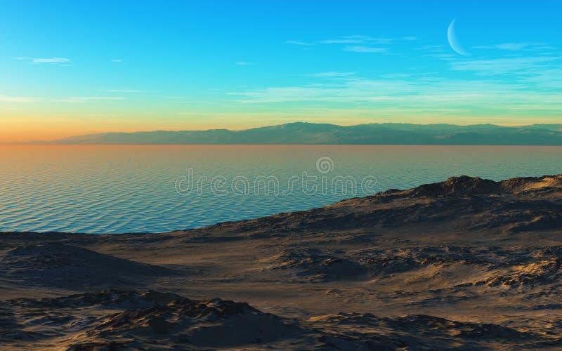 Berg sjö på aftonen royaltyfri bild