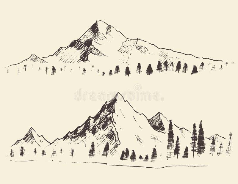 Berg skissar konturer som inristar den drog vektorn stock illustrationer
