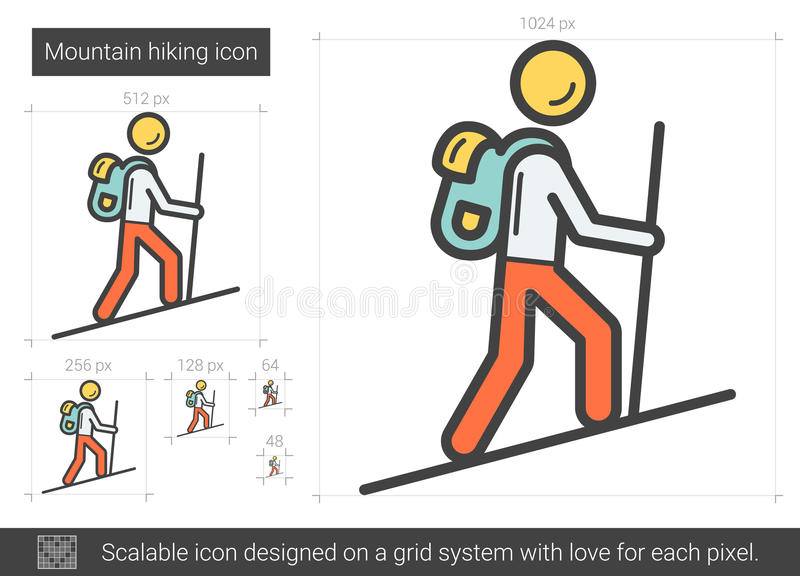 Berg som fotvandrar linjen symbol stock illustrationer