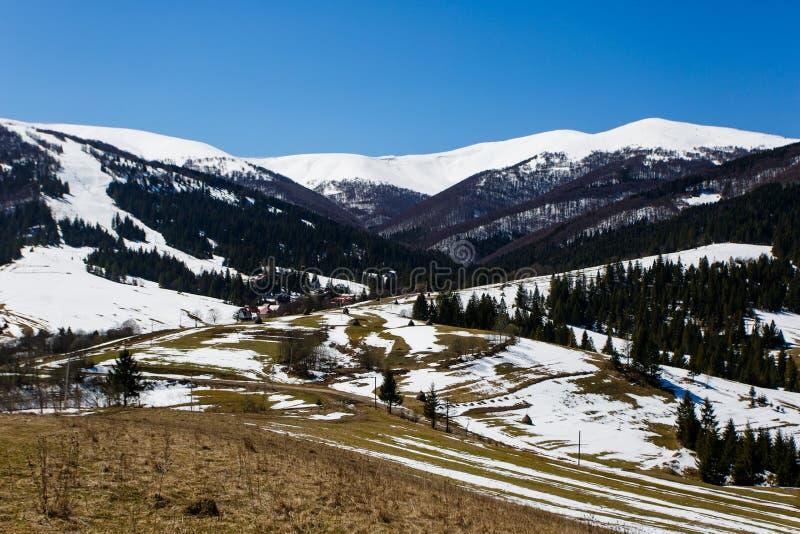 Berg som täckas i snö på solig dag tidig liggandefjäder arkivfoto