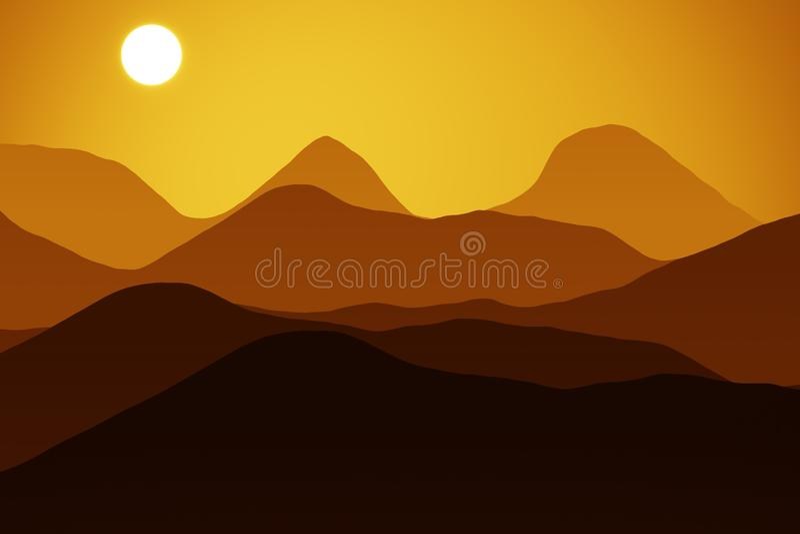 Berg am Sonnenuntergang vektor abbildung