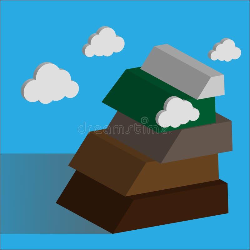 Berg Succesconcept die moeilijkheden overwinnen vector illustratie
