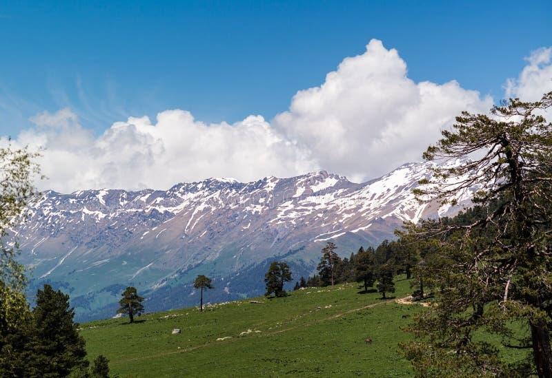 Berg tegen de blauwe hemel royalty-vrije stock afbeeldingen