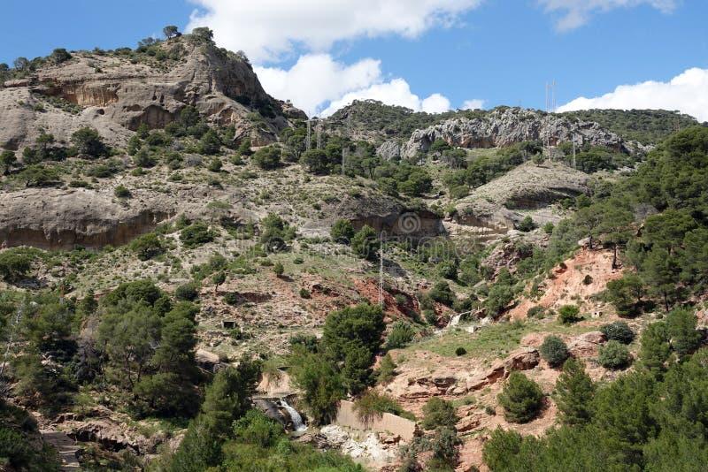 Berg van Caminito del Rey in Andalusia, Spanje stock afbeeldingen