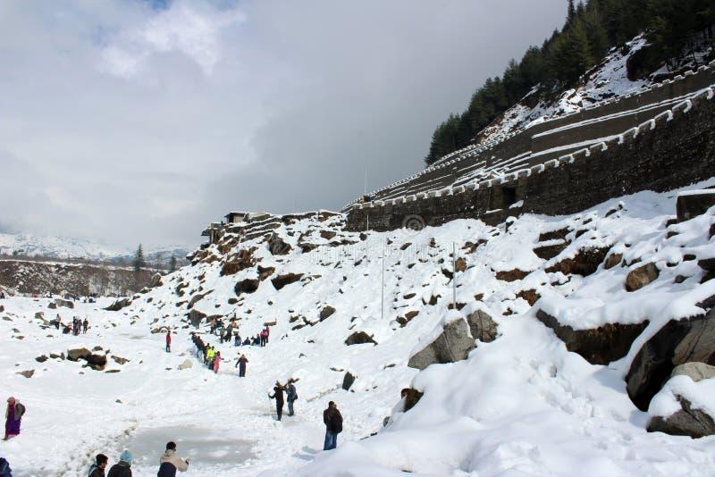 Berg van de Stad van Manali Himachal Pradesh in India stock foto's