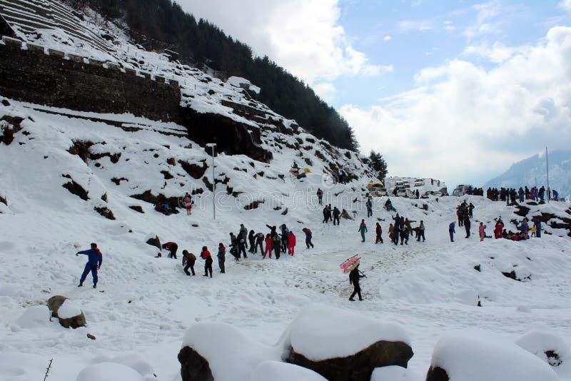 Berg van de Stad van Manali Himachal Pradesh in India royalty-vrije stock foto's