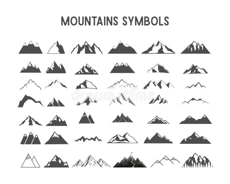 Berg vectorvormen en elementen voor verwezenlijking uw eigen openluchtetiketten, wildernis retro flarden, avonturenwijnoogst royalty-vrije illustratie