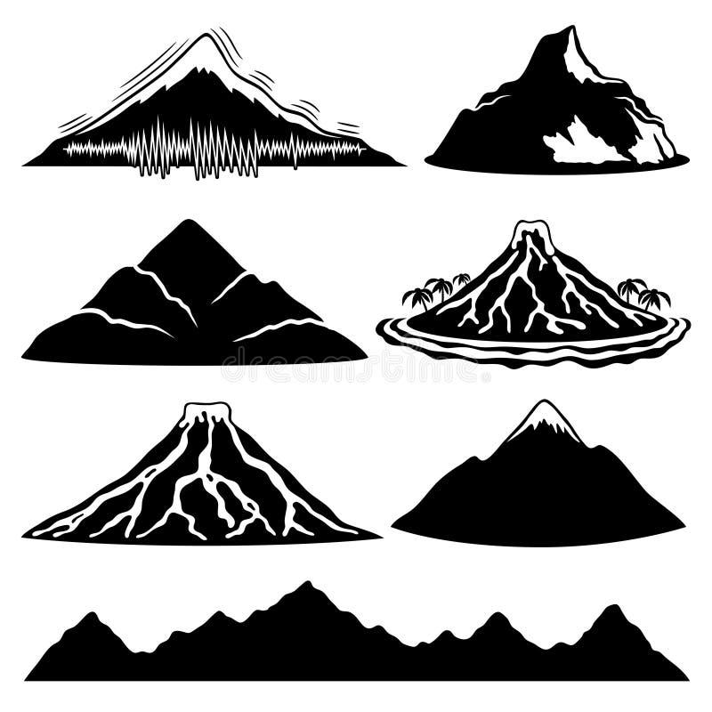 Berg, volcanoes och tropisk ö vektor illustrationer