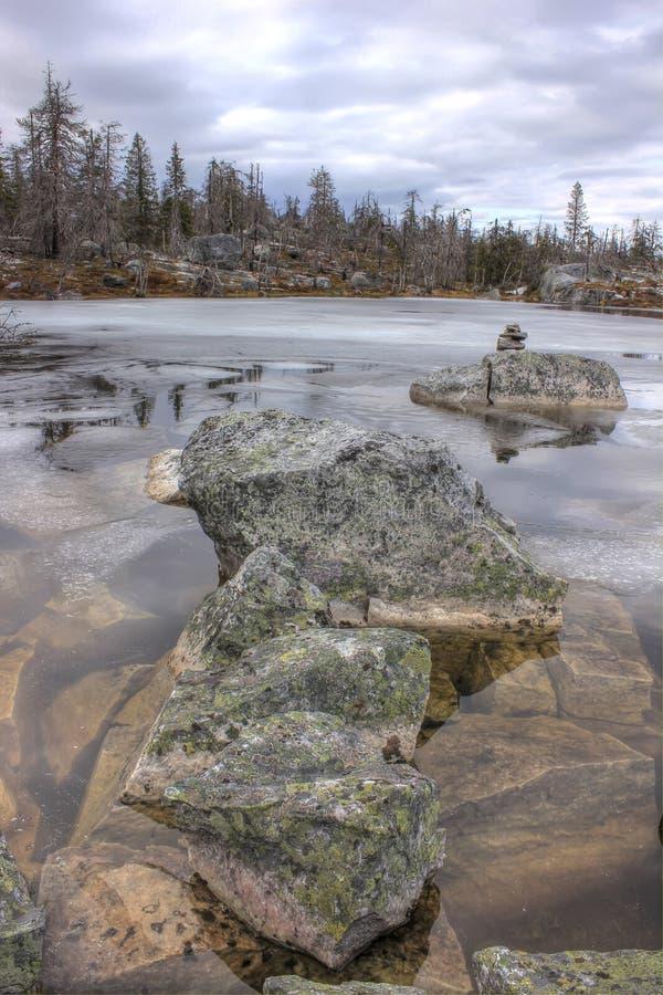 Berg Vottovaara, Karelia, Ryssland arkivbild
