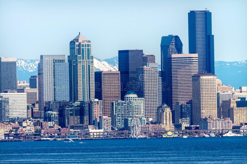 Berg Washington State för Seattle horisontPuget Sound kaskad royaltyfri fotografi
