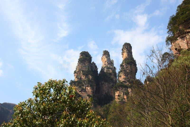 berg zhangjiajie royaltyfria foton
