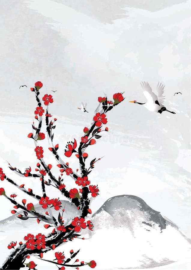 Bergachtergrond met kersenbloemen en kraanvogels royalty-vrije illustratie