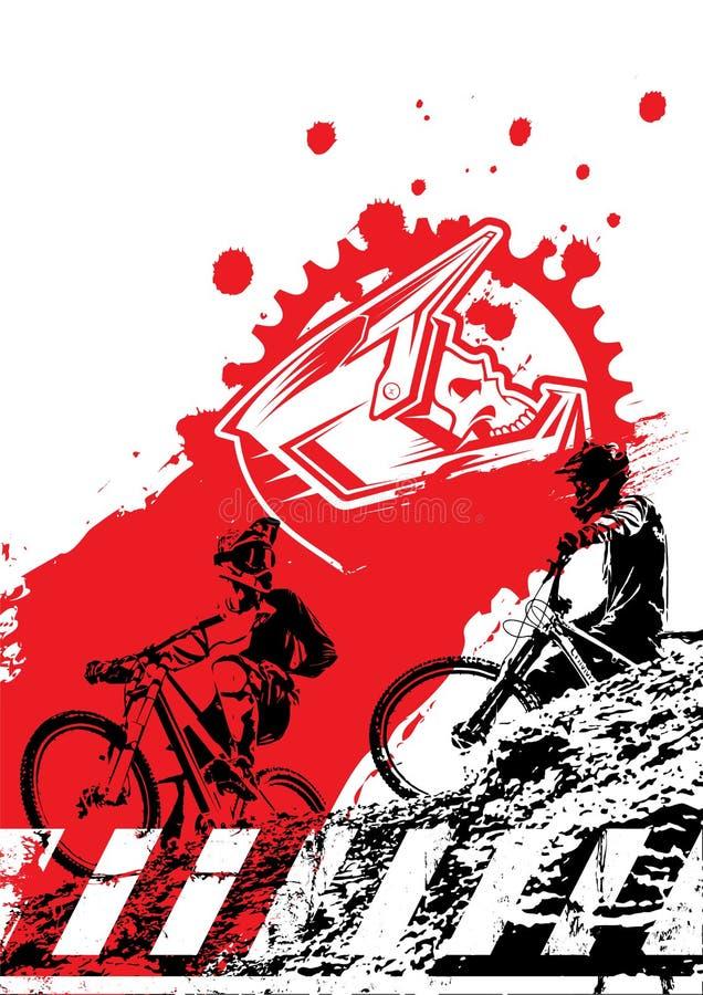 Bergaf berg biking achtergrond met silhouet van ruiters schedel en het chainring De affiche van het fietsras stock afbeelding