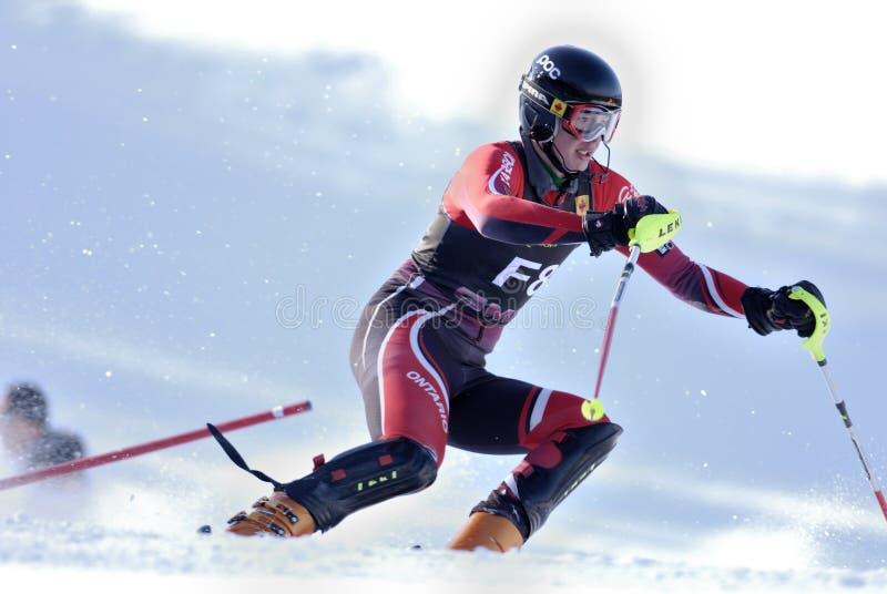 Bergaf ski?end stock afbeelding