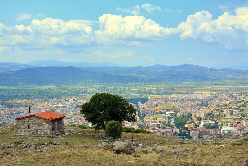 Bergama, vista della città di Smirne, Turchia fotografie stock libere da diritti