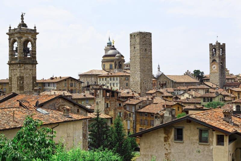 Bergamo alta. View of bergamo alta italian town royalty free stock photos
