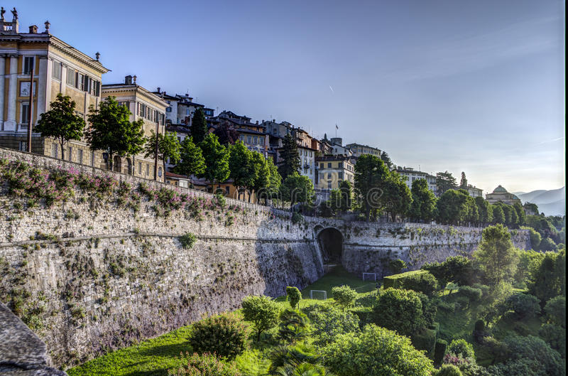 Bergamo Alta, Italy. The upper city of bergamo, surrounded by Venetian walls built in the 16th century, forms the historic centre of Bergamo stock photos