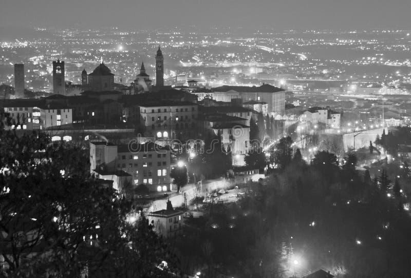 Bergamo Alta at night. From the castle stock photos
