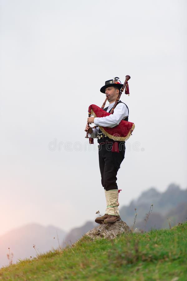 Bergamo bagpipe. Traditional instrument of northern Italy similar to the Scottish instruments and Galician gaita.  stock images