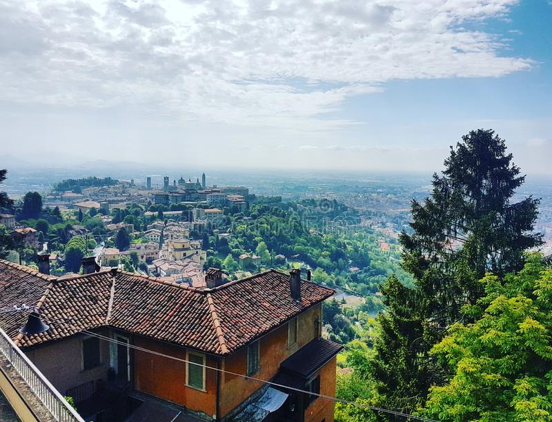 Bergamo. Cita, alta, oldcity, italy, lombardia, fromabove stock images