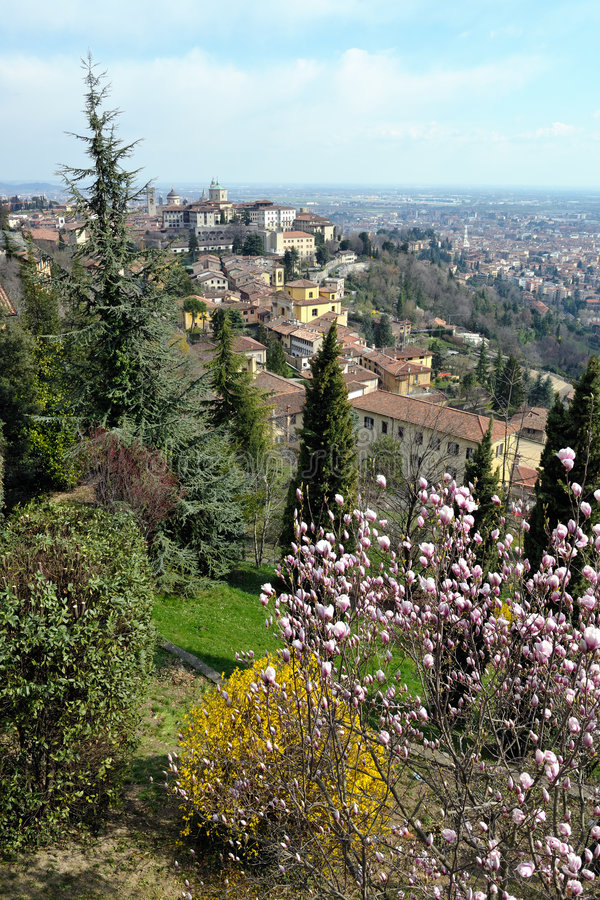 Bergamo, Città Alta, Italy, on a sunny afternoon royalty free stock photos