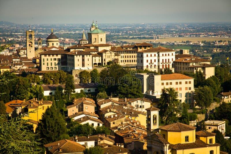 Bergamo Citta Alta. Upper old city (Citta Alta) in Bergamo with historic buildings during sunny day royalty free stock photography