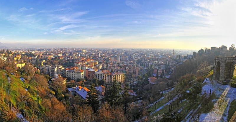Bergamo city, Italy. Panoramic aerial view of Bergamo city, Italy royalty free stock photo