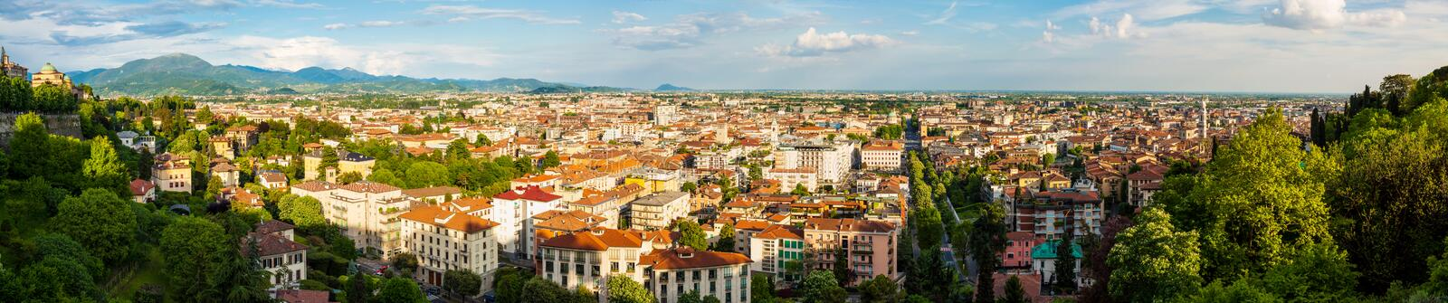 Bergamo City Panorama. Wide panorama taken from Citta Alta (Old City) with view of Bergamo city, Italy royalty free stock image