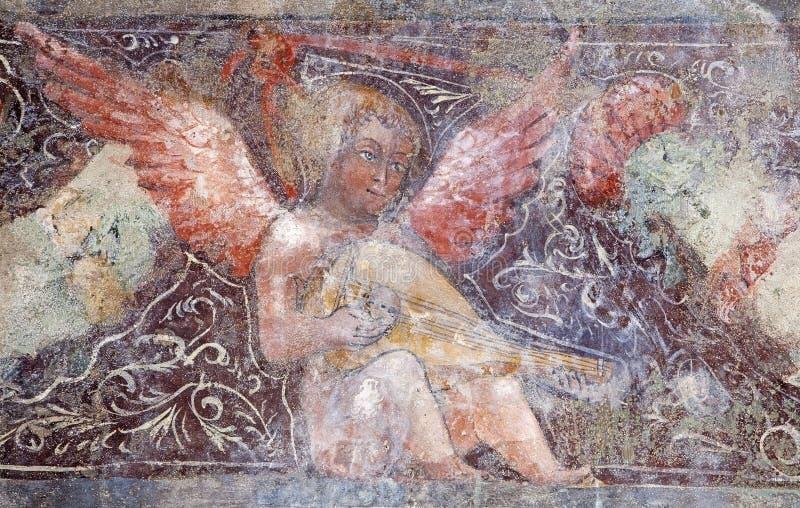 Bergamo - Detail of fresco of angel from church Michele al pozzo bianco stock image