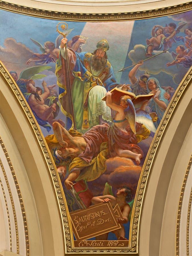 Bergamo - freskomålningen av St Augustine (Augustinus) från kupolen av kyrklig Santa Maria Immacolata delle Grazie royaltyfria foton