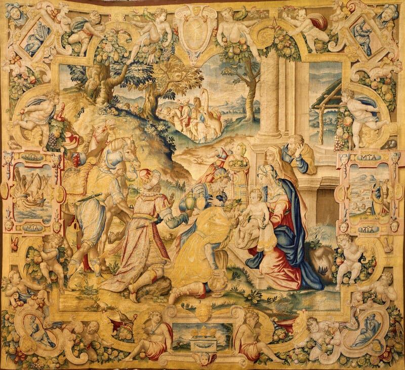 Bergamo - Gobelin Of Adoration Of The Magi In Church Santa Maria Maggiore Royalty Free Stock Photos