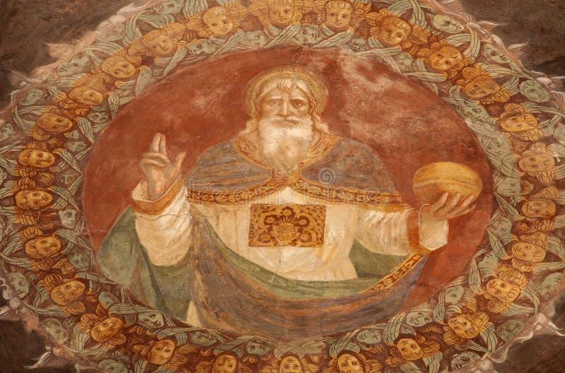 Bergamo - God the Creator fresco form church Michele al pozzo bianco. Fresco in the apse by Giovani Battista Guarinoni d'Averara from year 1577 on January 26 stock image