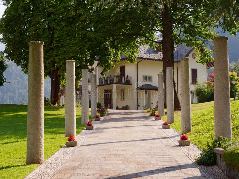 Bergamo, Gromo, ITALY - AUGUST 9, 2019: Centro Storico di Gromo stock photos