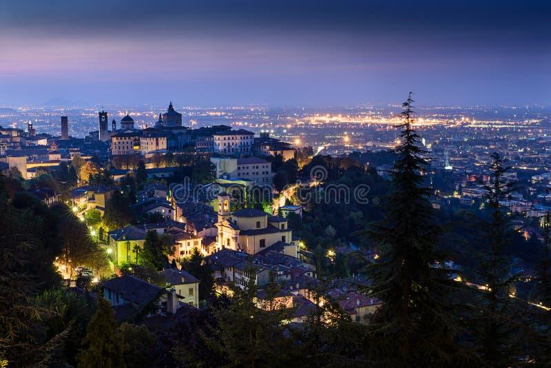 Bergamo high city. Sunrise at high city in Bergamo -Italy stock photo