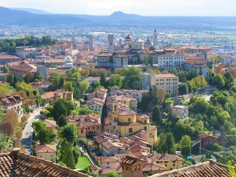 Bergamo. High bergamo view from San Vigilio stock photos