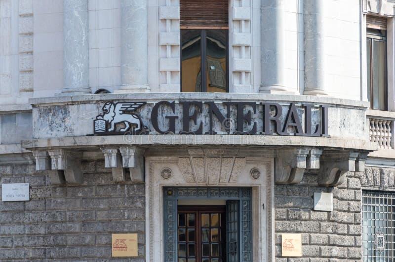 Bergamo, Itália - 30 de maio de 2018: Logotipo do seguro de Generali compan imagens de stock