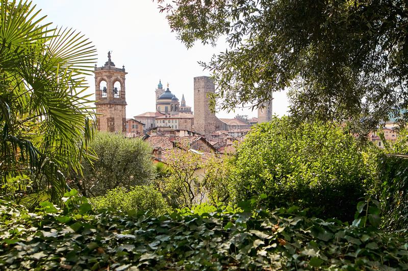 Bergamo, Italy - August 18, 2017: The Castle of La Rocca Bergamo is located in the upper part of the city on the hill of Saint Eup stock image