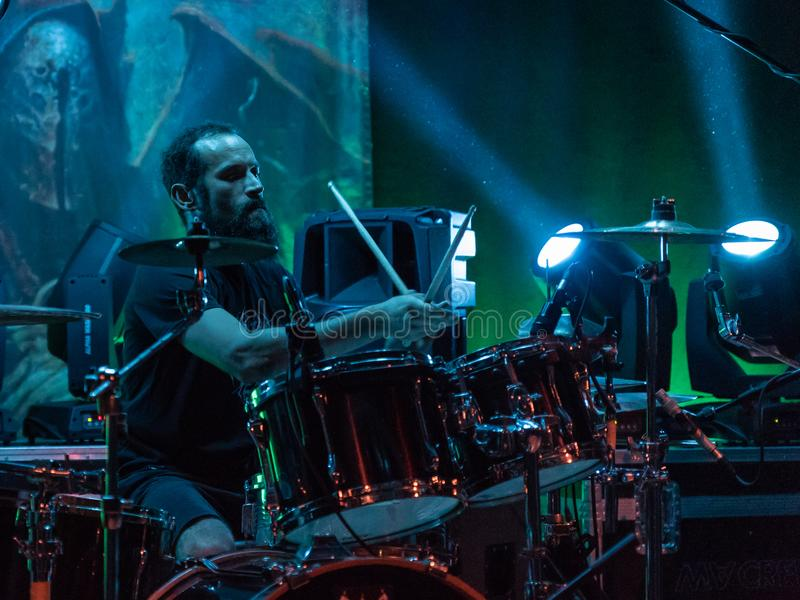 Adrenalin Dose at Pollo Metal Fest BG 26-08-2018. Bergamo, Italy - August 26, 2018: Italian Grunge-St0ner band Adrenalin Dose performs at Pollo Metal Fest at stock photography