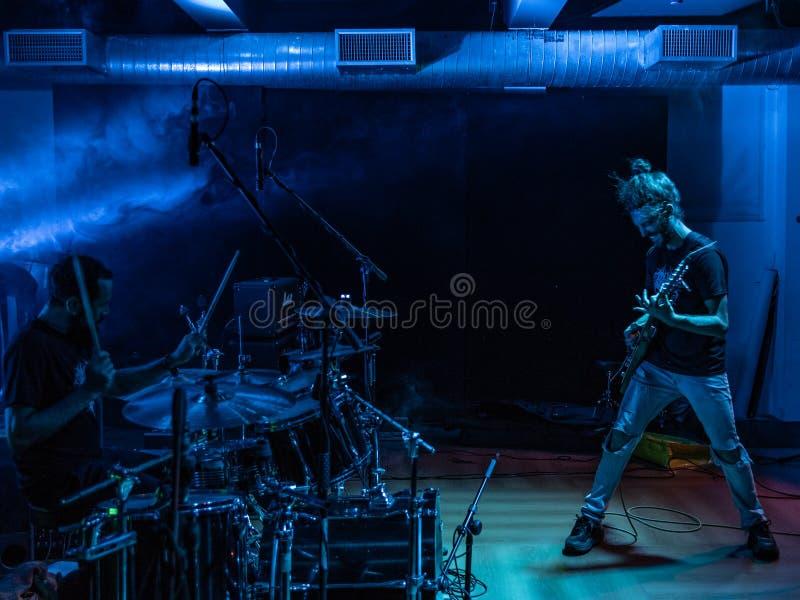 Adrenalin Dose at Pollo Metal Fest BG 26-08-2018. Bergamo, Italy - August 26, 2018: Italian Grunge-St0ner band Adrenalin Dose performs at Pollo Metal Fest at stock photo