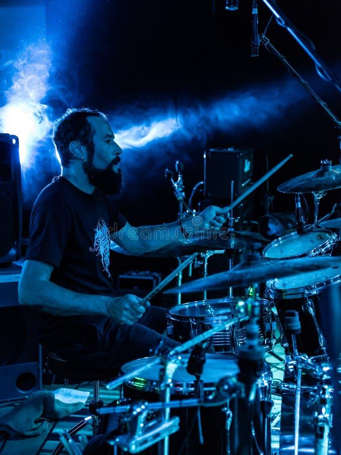 Adrenalin Dose at Pollo Metal Fest BG 26-08-2018. Bergamo, Italy - August 26, 2018: Italian Grunge-St0ner band Adrenalin Dose performs at Pollo Metal Fest at royalty free stock photography