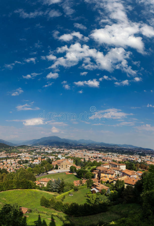 Bergamo, Italy - August 18, 2017: Panoramic view of the city of Bergamo from the castle walls royalty free stock image