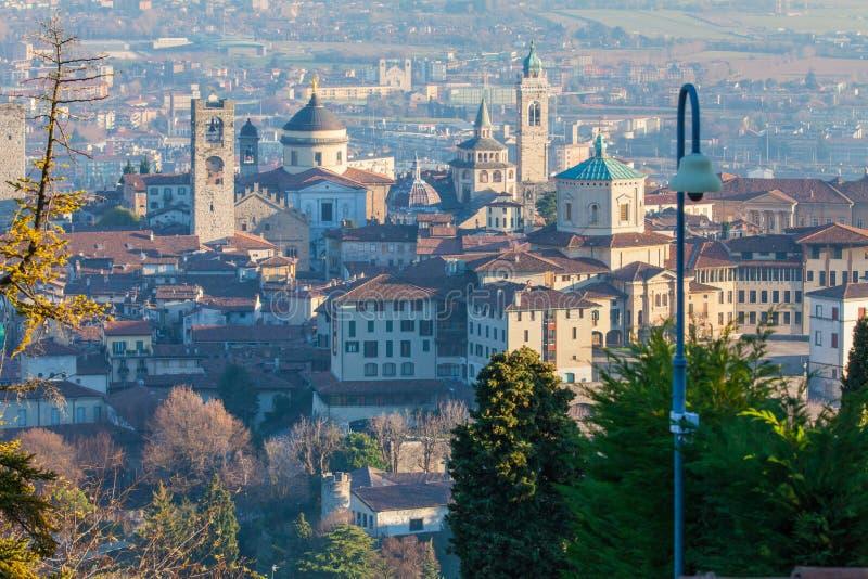 Historic center of Bergamo seen from above stock photos