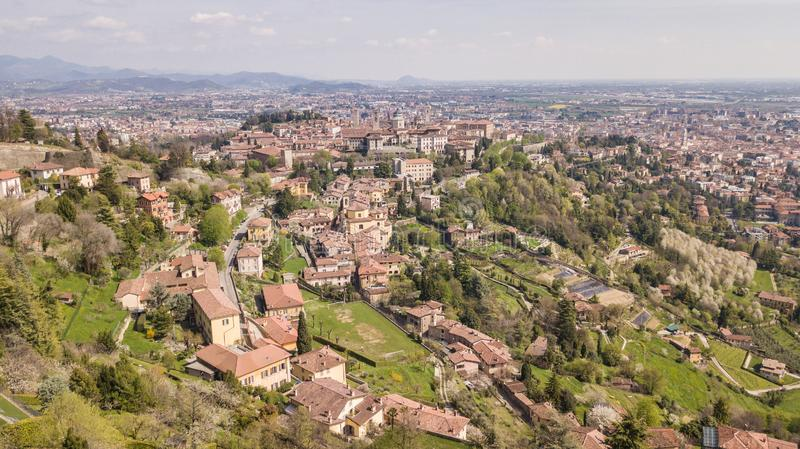 Bergamo, Italy. Drone aerial view of the old town. Landscape at the city center, its historical buildings and the Venetian walls royalty free stock image
