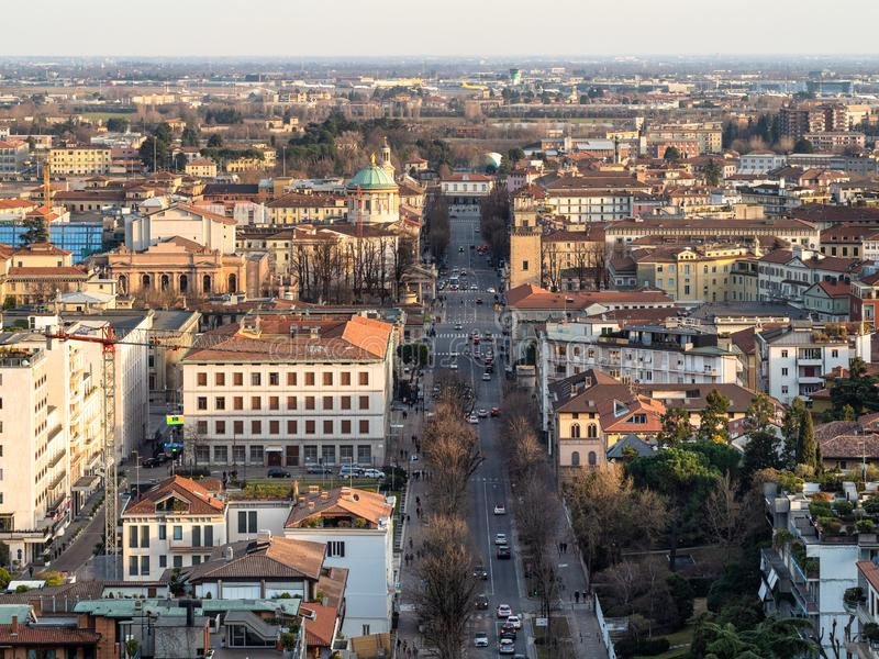 Above view of Bergamo city, Lombardy in evening stock photos